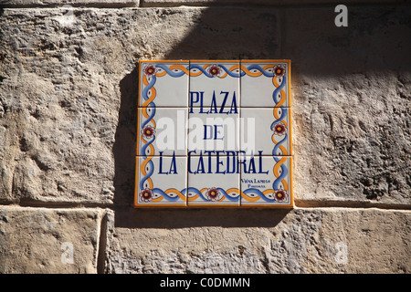 Sign for Plaza De La Catedral Havana Cuba - Stock Photo