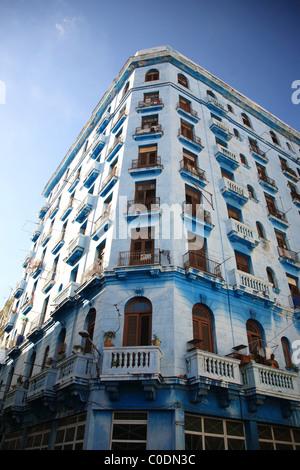 Tall old apartment block in Havana Cuba - Stock Photo