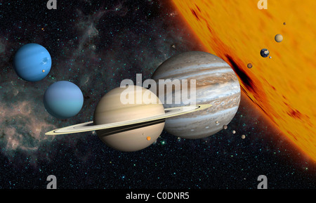 The planets and larger moons to scale with the Sun. - Stock Photo