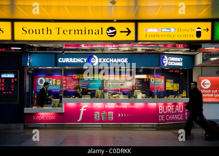 currency exchange bureau at gatwick airport stock photo royalty free image 68440681 alamy. Black Bedroom Furniture Sets. Home Design Ideas