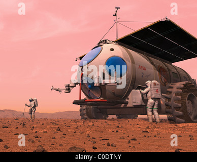 Artist's concept of how a martian motorhome might be realized. - Stock Photo