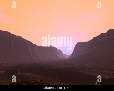 Illustration of a martian sunrise from within a deep canyon. - Stock Photo