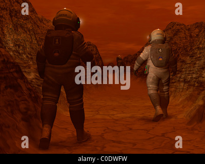 Artist's concept of astronauts exploring a dry gully on Saturn's moon Titan. - Stock Photo