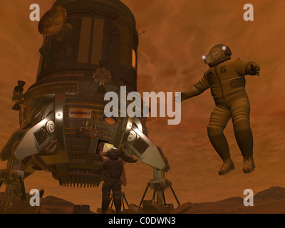 Artist's concept of astronauts exploring the surface of Saturn's moon Titan. - Stock Photo