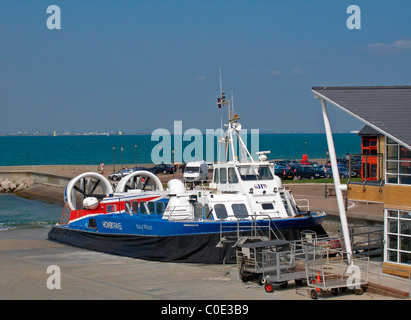 Ride Hoverport on The Isle of Wight, with docked Hovercraft after Solent crossing, England. - Stock Photo