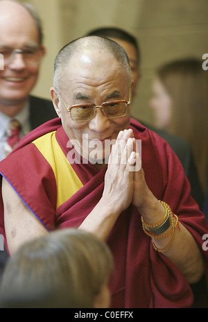 His Holiness the 14th Dalai Lama of Tibet, Tenzin Gyatso, addresses a press conference after speaking to the House - Stock Photo