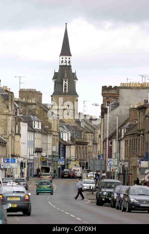 Cupar in Fife Scotland high street - Stock Photo
