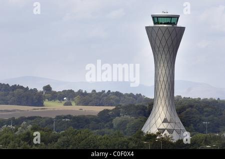 AIR TRAFFIC CONTROL TOWER, EDINBURGH AIRPORT, EDINBURGH, MID LOATHIAN, UNITED KINGDOM, - Stock Photo