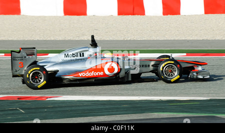 british Formula One driver Lewis Hamilton in the McLaren MP4-26 race car in February 2011 - Stock Photo