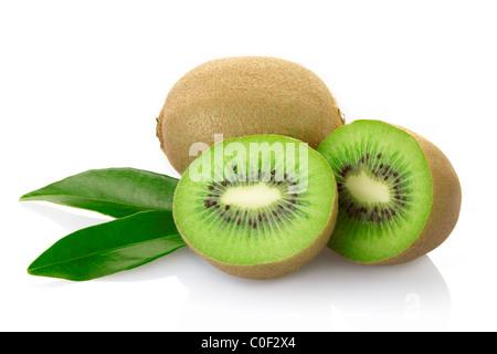 Kiwi fruit isolated on white - Stock Photo