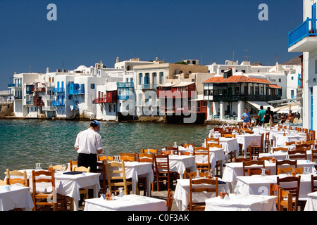 Famous 'Little Venice' in the Hora of Mykonos, Cyclades, Greece - Stock Photo