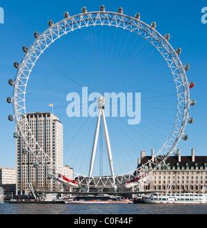 The 'London Eye' or Millennium wheel, South Bank, London, UK - Stock Photo