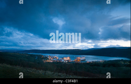 An early evening view of the home of the UK's nuclear submarines, Faslane Naval Base - Stock Photo