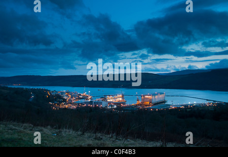 An early evening view of the home of the UK's nuclear submarines - Stock Photo
