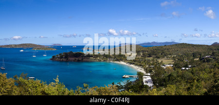 Panorama of Caneel Bay on the Caribbean island of St John in the US Virgin Islands - Stock Photo
