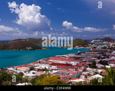 Aerial view over the town of Charlotte Amalie and harbor on St Thomas Island in the US Virgin Islands in summer - Stock Photo