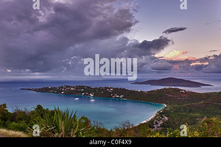 View of Magens Bay - the world famous beach on St Thomas in the US Virgin Islands - Stock Photo