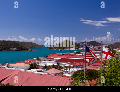 Charlotte Amalie town and harbor on St Thomas island in the in summer, in the beautiful US Virgin Islands - Stock Photo