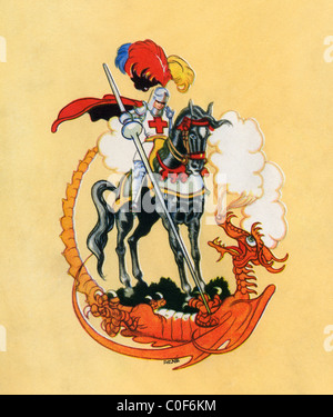 St. George and the Dragon, from The Golden Wonder Book published 1934. - Stock Photo