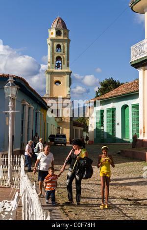 Bell tower of Iglesia y Convento de San Francisco, Plaza Mayor, Trinidad , Cuba - Stock Photo