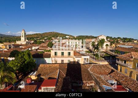 Panoramic view over Trinidad, Plaza Mayor, Convent de San Francisco, Cuba - Stock Photo