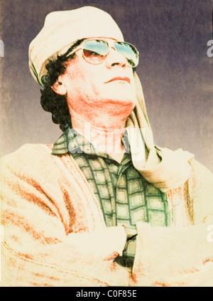 Libyan leader Colonel Gaddafi - Stock Photo