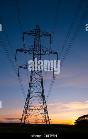 An electricity pylon of the National Grid in Wales at sunset - Stock Photo