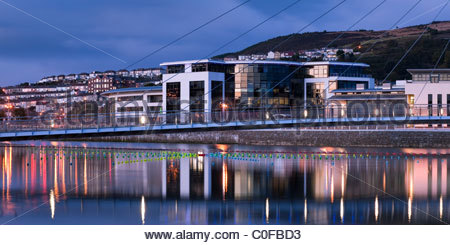 SA1 development Swansea Marina Swansea Wales at twilight - Stock Photo