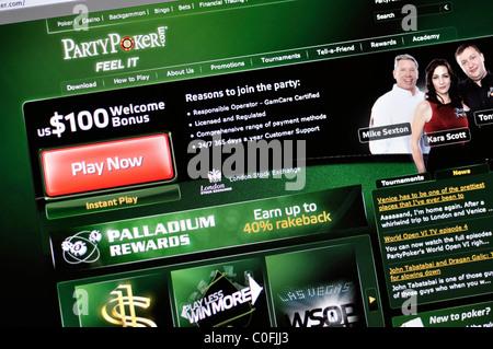 Party Poker website - Stock Photo