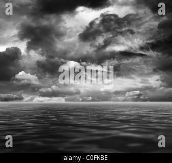 Dark sea and sky - Stock Photo