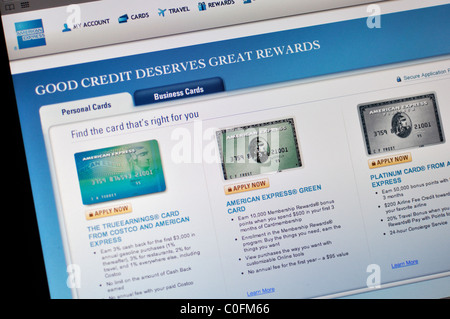American Express website - Stock Photo