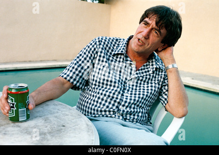 The cannabis dealer and smuggler Howard Marks relaxing in Majorca a few days after release from prison in America - Stock Photo
