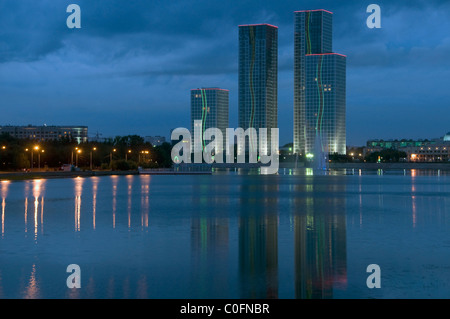 Scenic view of downtown and Ishim river at night. Astana, Kazakhstan - Stock Photo