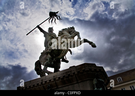 Statue of William the Conqueror in Falaise, northern France - Stock Photo