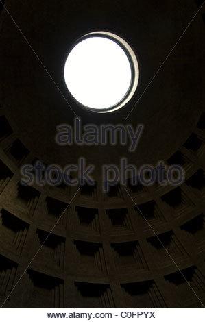 Coffered ceiling of the Pantheon interior dome at Piazza della Rotonda, Rome Italy - Stock Photo