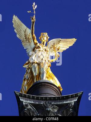 Angel of Peace statue (Friedensengel) in Munich, Germany, Europe - Stock Photo