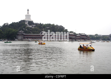 White Dagoba sits on top of the Jade Flowery islet, Beijing, China - Stock Photo