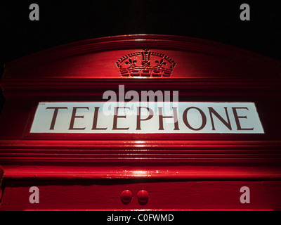 A British telephone box on display at the Museum of London, England. - Stock Photo