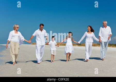 A happy family of grandparents, mother, father, two children, son & daughter, walking holding hands, having fun - Stock Photo