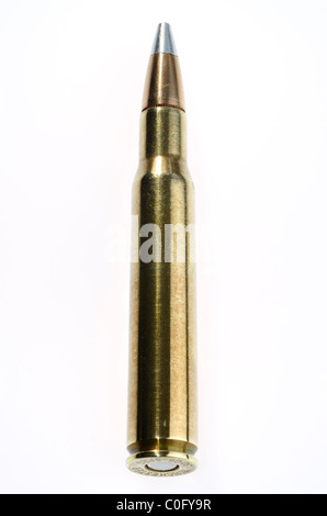 Full metal jacket Winchester 30 06 Springfield cartridge bullet - Stock Photo