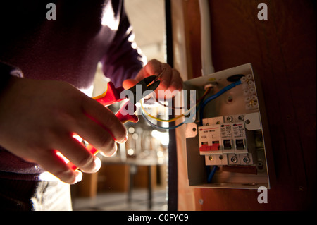 an electrician fixing a fuse box stock photo royalty image an electrician trimming electrical wires before fixing to a mains fuse box uk stock