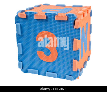 Toy blocks forming a cube with the number three isolated on white background - Stock Photo