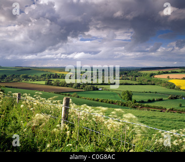A view of the Wylye Valley in Wiltshire at Stapleford. - Stock Photo