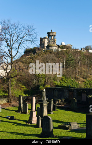 dh Old cemetery CALTON CEMETERY EDINBURGH Graves and Dugald Stewart monument Calton Hill burial ground history - Stock Photo