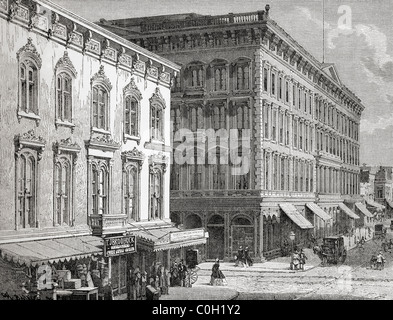 View of the Western Hotel, Montgomery Street, San Francisco, California, America in the 19th century. - Stock Photo