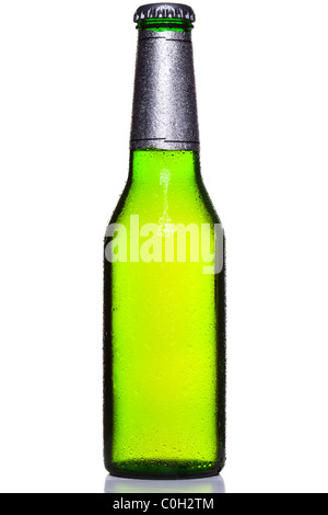 Photo of an ice cold bottle of beer covered in droplets with foil wrapper and cap, isolated on a white background. - Stock Photo