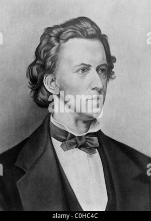 Vintage 19th century portrait of Polish composer and pianist Frederic Chopin (1810 - 1849). - Stock Photo