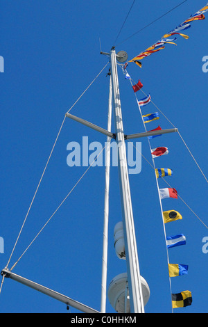 Abstract of Yachts rigging with signal flags - Stock Photo