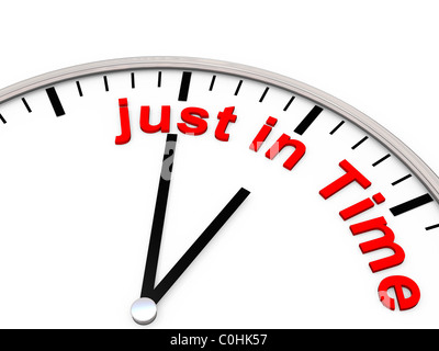 The words just in time on a clock - Stock Photo