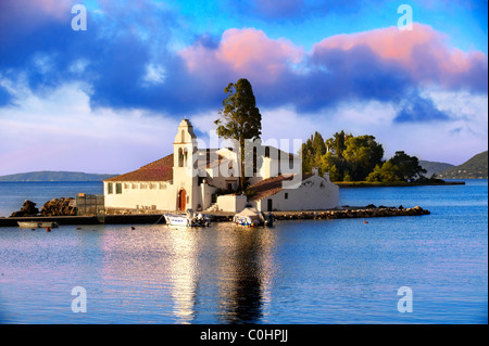 Greek Orthodox Convent of Vlachernas, Kanoni, Peninsula, Corfu Greek Ionian Islands - Stock Photo